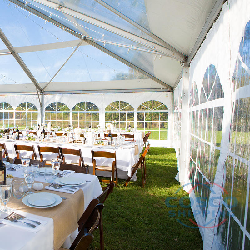 Outdoor wedding party events tent with transparent sidewall
