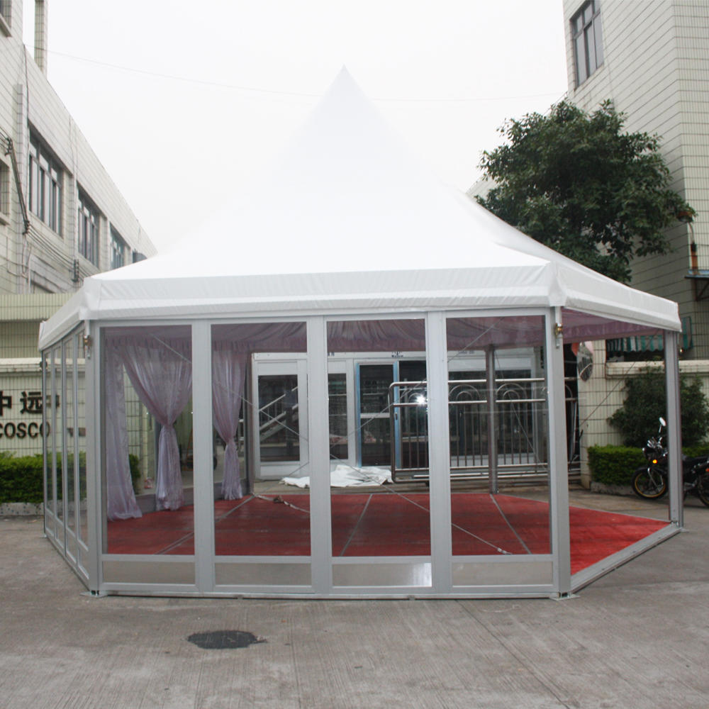 COSCO Customized Permanent Wind Resistant Wedding Pagoda Hexagonal Gazebo Tent With Flooring