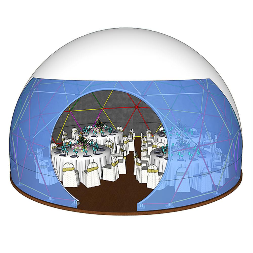 Transparent 6m 10m 15m 20m diameter camping geodesic dome tent