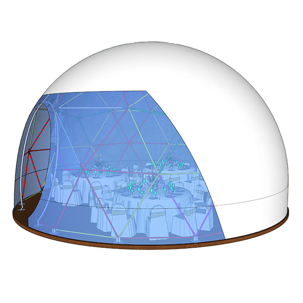 Transparent 6m 10m 15m 20m diameter camping geodesic dome tent