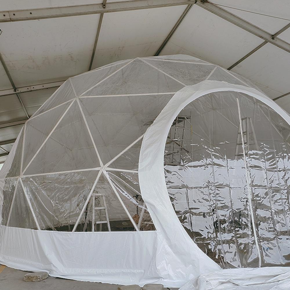 Factory price Large Party Aluminum Event Geodesic Dome Tent with Half Transparent PVC