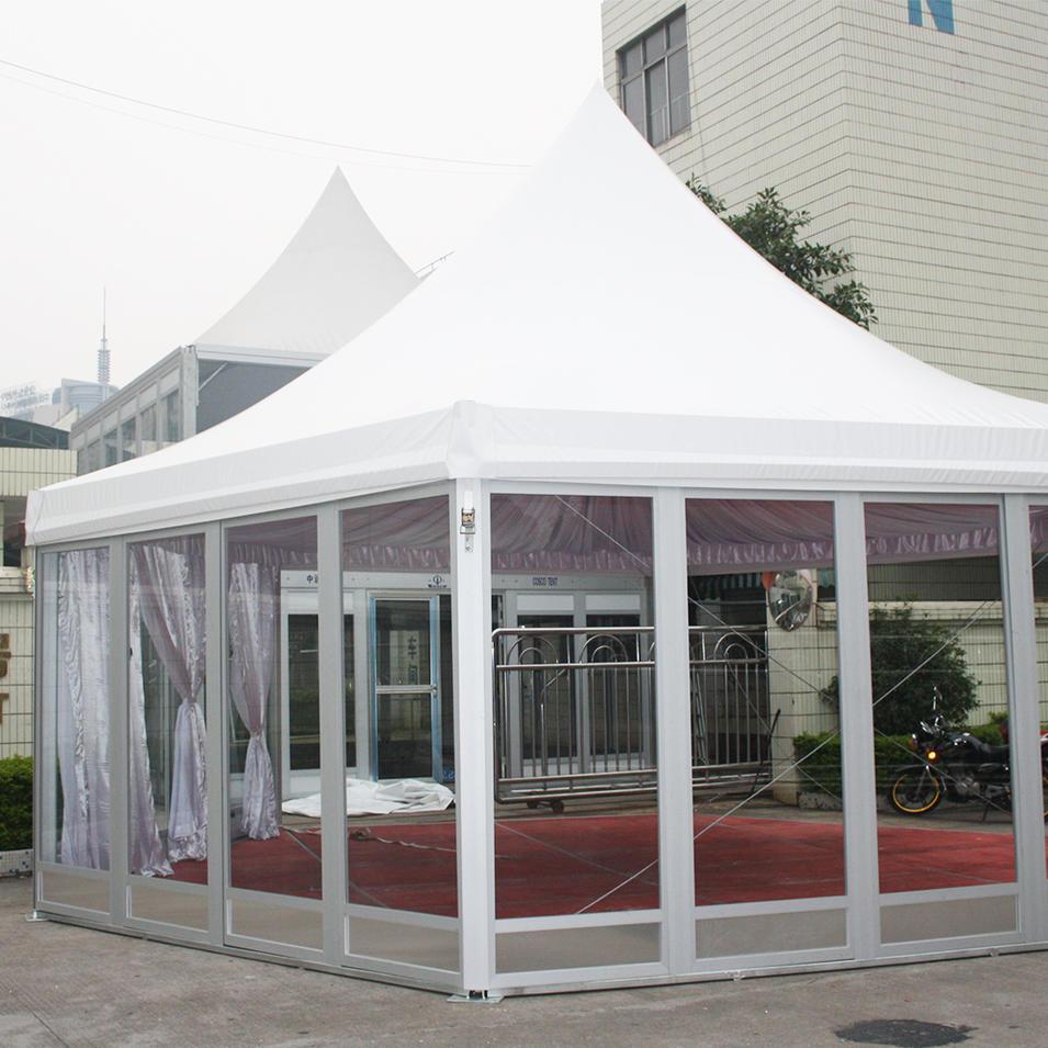 COSCO Custom Garden Party Event Tent Aluminum PVC Glass Walls Hexagonal Gazebo Pagoda Tent