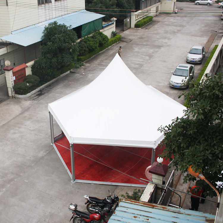 COSCO Custom Garden Party Event Tent Aluminum PVC Glass Walls Hexagonal Gazebo Pagoda Tent