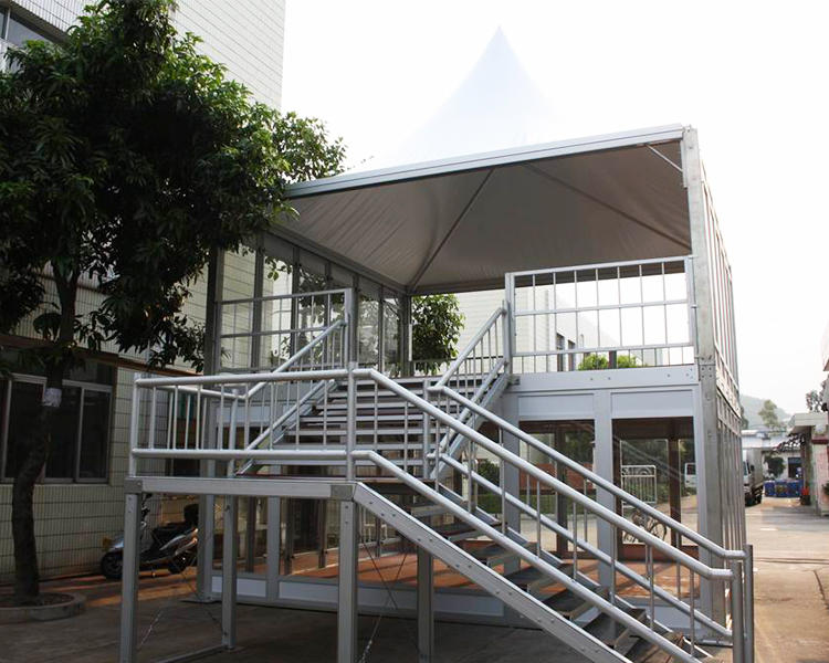 COSCO Outdoor company office double deck tent, big tent with glass metope, aluminum structure double desker camping tent