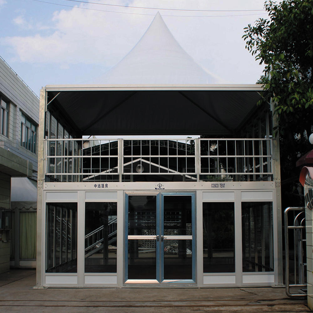 Luxury double decker tent exhibition reception tent, high quality cube double decker structure conference tent