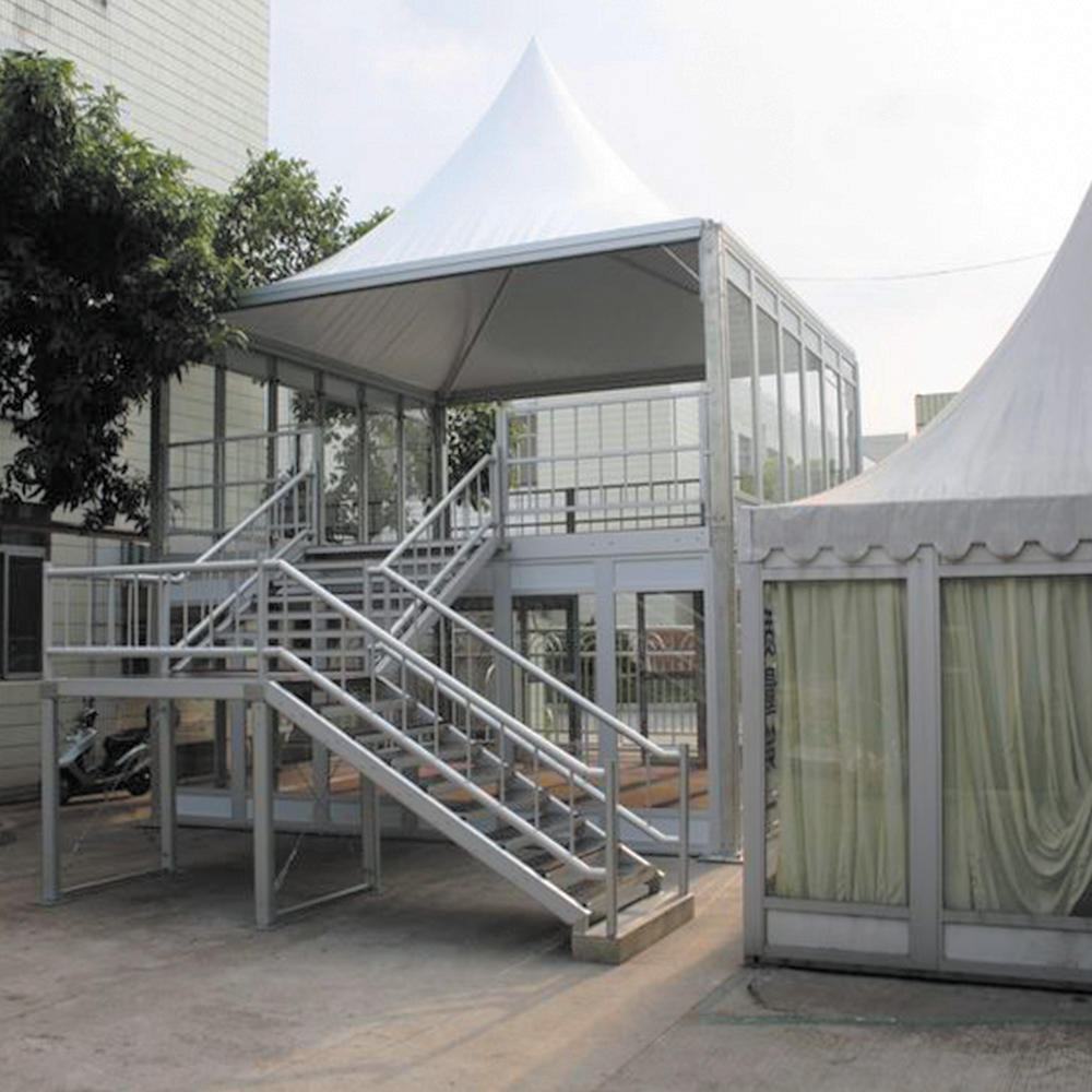 Manufacture aluminum structure double decker tent glass wall