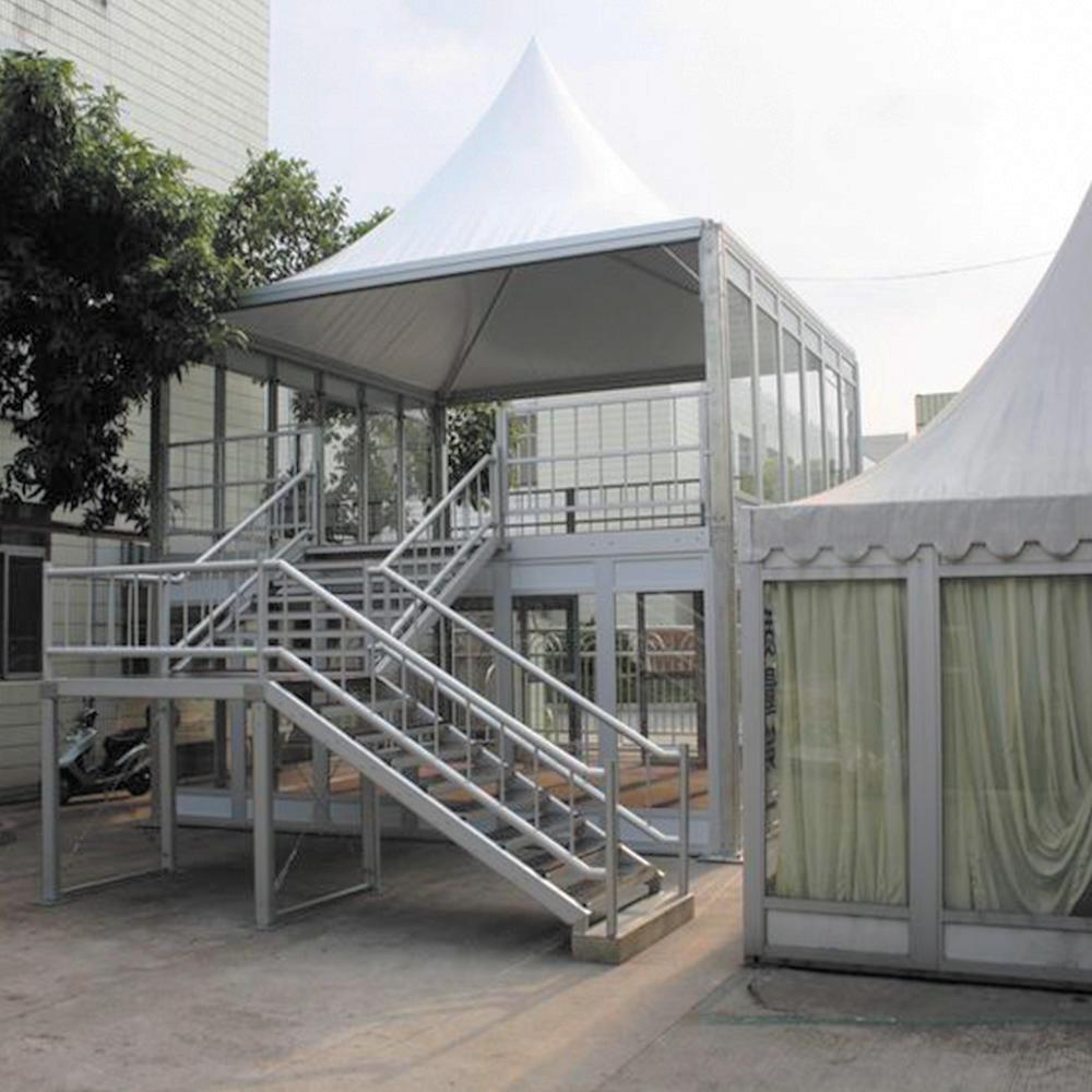 Manufacture aluminum structure double decker tent glass wall