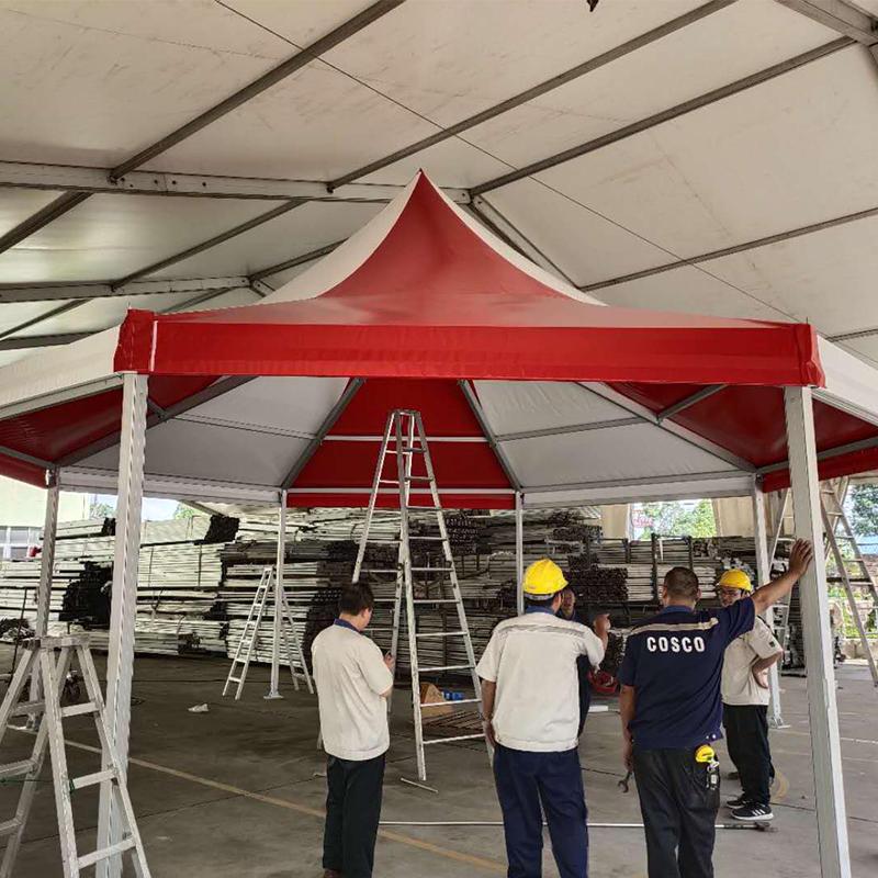 Aluminum Alloy Frame Colored Double PVC Coated Polygonal Octagonal Pagoda Gazebo Party Tents