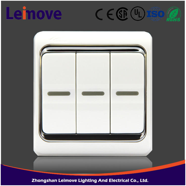 3 Gang 2 way 3 port ethernet switch with european style from chinese wholesaler