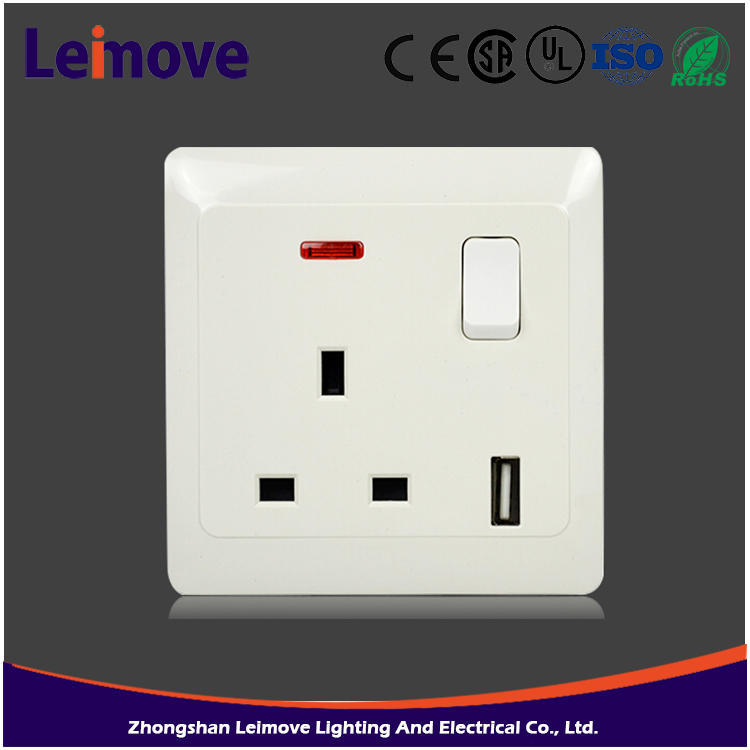 White electric switch 13A electric heater switch simple two gang two way switch