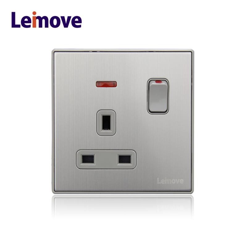 Metal 13amp UK type electrical plug wall socket