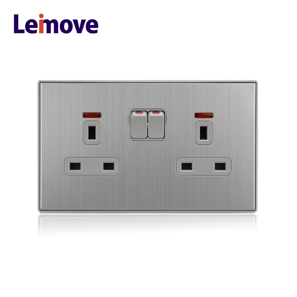 gray color metal electrical british twin socket outlet
