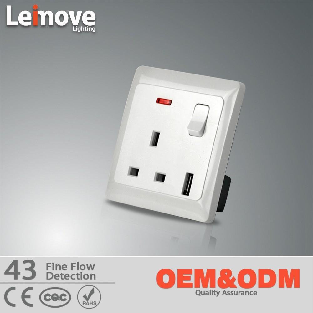 Hot selling 3 pin british socket with usb wall socket