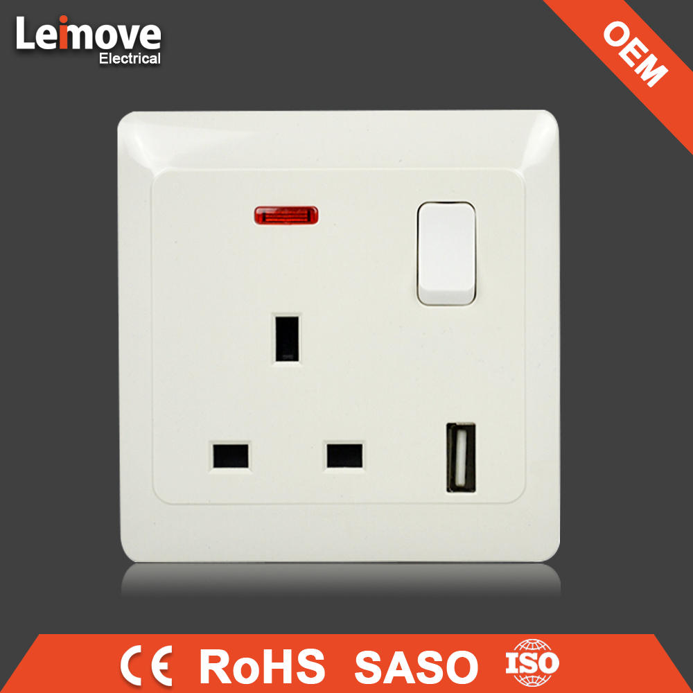 Hot selling 3 pin british socket with usb wall socket