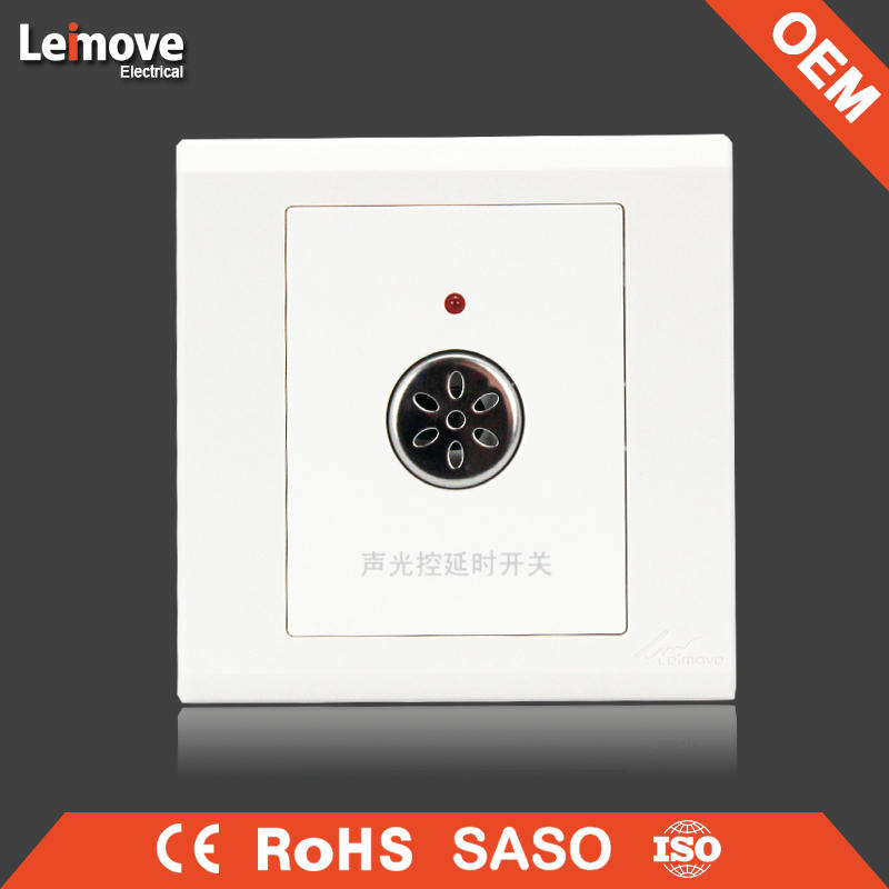 High quality frosted faceplate PC white touch time delay switch with light