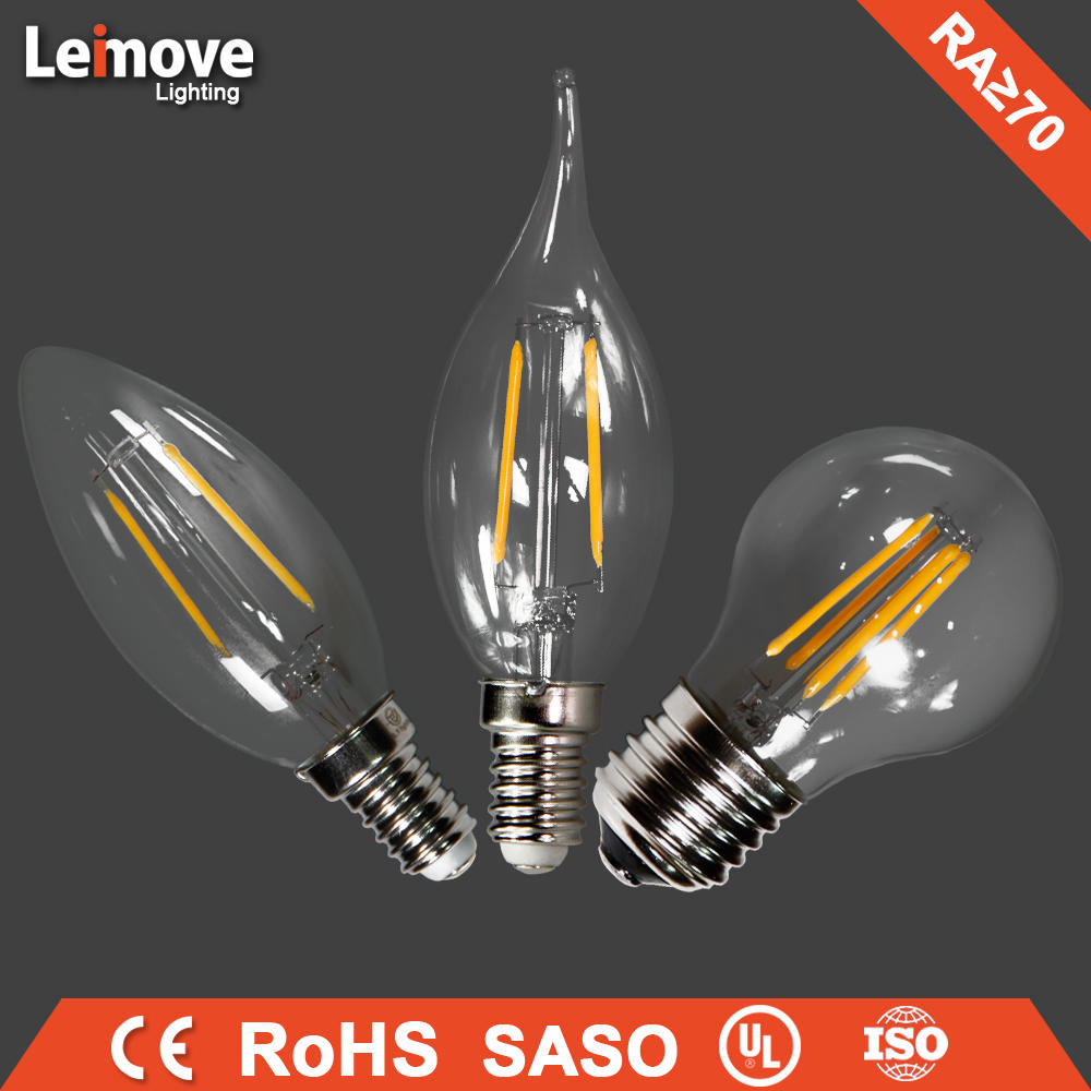 2017 indoor decorative led light long filament led light bulb 4w