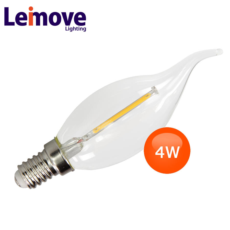 2017 indoor decorative led light long filament led light bulb 4w