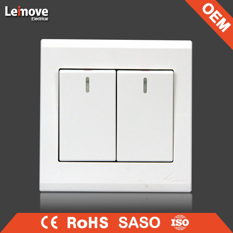 High quality PC white two gang one way switch