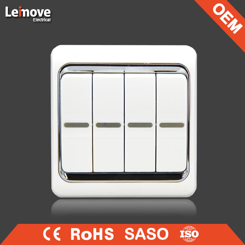 European and Classic four gang one way/two way wall switch