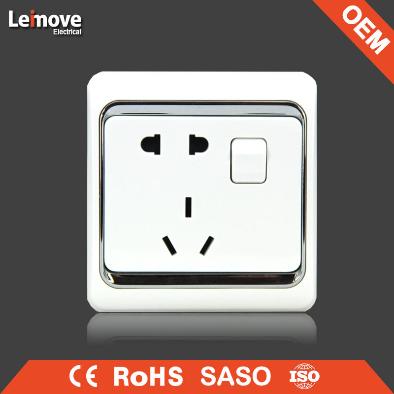 European and Classic Chinese type 5 pin wall switched socket